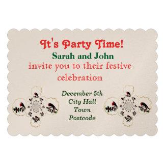 Divertimento festivo do pisco de peito vermelho do convites personalizado