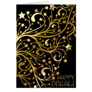 Diwali feliz elegante Stars o ouro preto brilhante Cartão