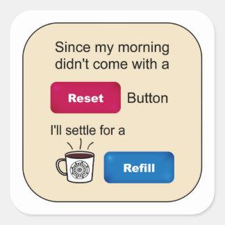 Dizer engraçado do botão de restauração do adesivo quadrado