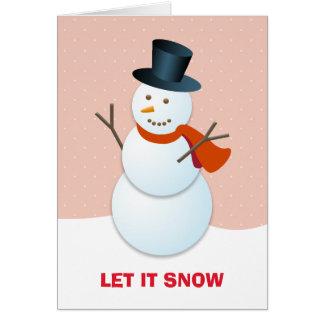 Do boneco de neve do Pólo Norte do rosa feriado Cartão Comemorativo
