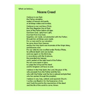 ~ do cartão do credo de Nicene customizável Cartao Postal