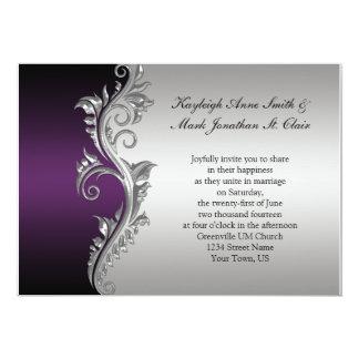 Do casamento preto do vintage convite roxo e de