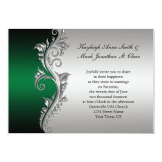 Do casamento preto do vintage convite verde e de