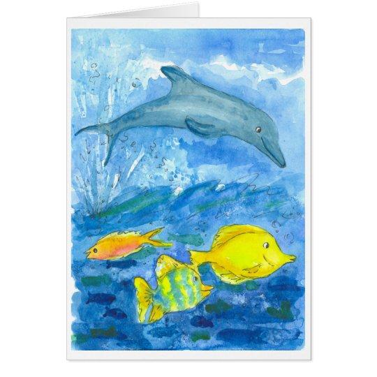 Do golfinho tropical dos peixes de Tang feliz Cartão Comemorativo
