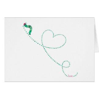 """Do """"inseto"""" Caterpillar amor Cartão Comemorativo"""