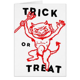 Do kitsch retro do vintage do Dia das Bruxas diabo Cartão Comemorativo