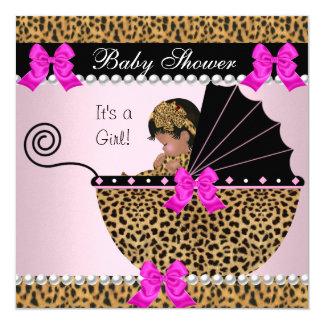 Do leopardo bonito do bebé do chá de fraldas rosa convite quadrado 13.35 x 13.35cm