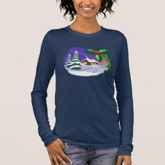 Do marinho nevado da casa de campo do Natal capas T-shirts
