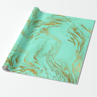 Do mármore azul verde do ouro da hortelã encanto papel de presente