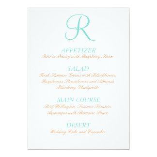 Do menu alaranjado azul do casamento do ovo do convite 12.7 x 17.78cm