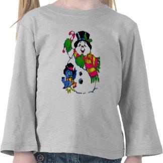 Do miúdo alegre do boneco de neve do feriado do Na Camiseta
