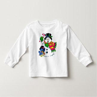Do miúdo alegre do boneco de neve do feriado do t-shirts