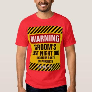 Do noivo despedida de solteiro de advertência a camisetas