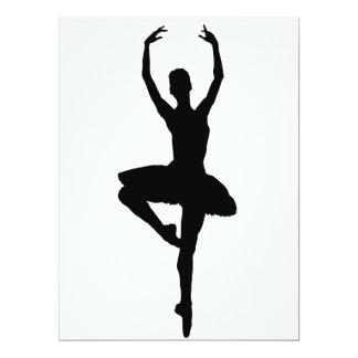 """~~ do PIROUETTE da BAILARINA (silhueta da dança do Convite 16.51"""" X 22.22cm"""