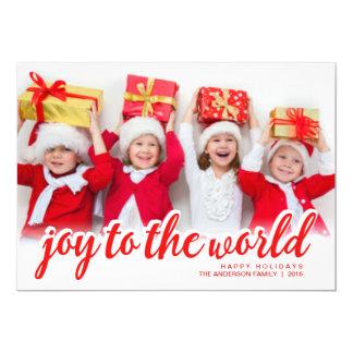 Do roteiro moderno da mão da alegria do Natal foto Convite 12.7 X 17.78cm
