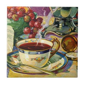 Do vintage do azulejo de Trivet café da manhã da v