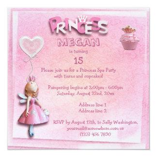Dobro do partido dos termas da princesa convite quadrado 13.35 x 13.35cm