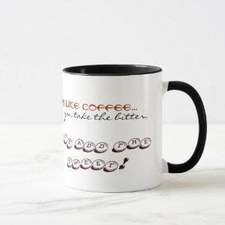 Doce amargo da caneca de café