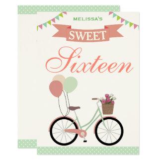 Doce bonito dezesseis da bicicleta convite de 16