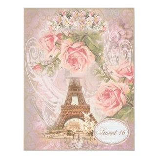 Doce floral 16 do rosa da torre Eiffel do chique Convite 10.79 X 13.97cm