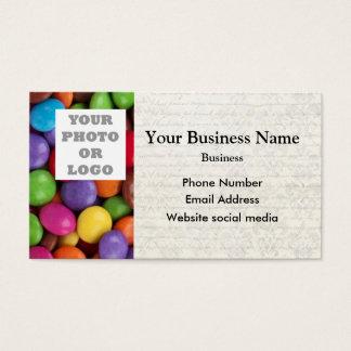 Doces coloridos ou modelo doce da foto do teste cartão de visitas