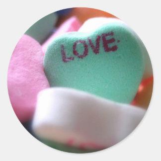 Doces do coração do amor adesivo