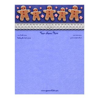 Doces dos biscoitos do pão-de-espécie azuis papel timbrado