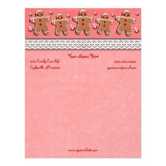 Doces dos biscoitos do pão-de-espécie vermelhos papel timbrado