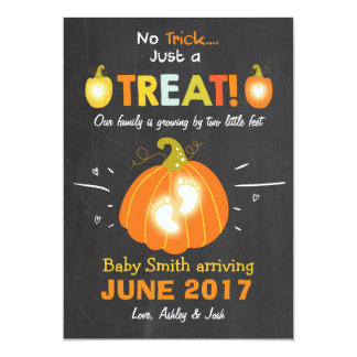 Doçura ou travessura do anúncio da gravidez do Dia Convite 12.7 X 17.78cm