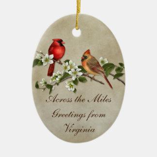 Dogwoods dos cardeais #2 através do Natal das Ornamento De Cerâmica Oval