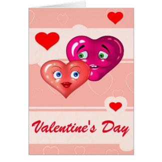 dois corações cartão comemorativo