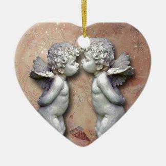 Dois Cupido Loving, arte original Ornamento De Cerâmica Coração