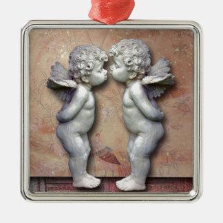 Dois Cupido Loving, arte original Ornamento Quadrado Cor Prata