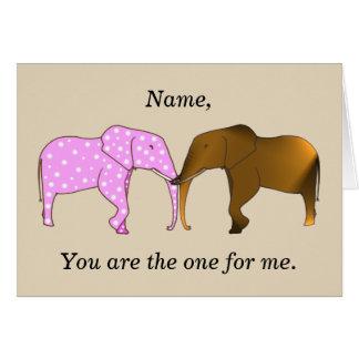Dois elefantes diferentes em cartões da proposta