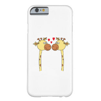 Dois girafas com corações vermelhos do amor. capa barely there para iPhone 6