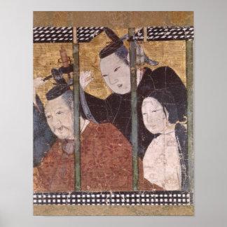 Dois homens e mulher atrás do toldo, tela do detal poster