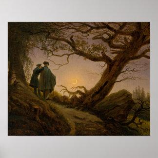 Dois homens que contemplam a lua poster