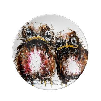 Dois pássaros de bebê ilustrados pratos de porcelana