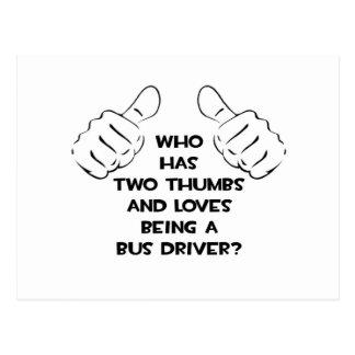 Dois polegares. Condutor de autocarro Cartão Postal