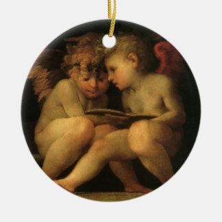 Dois querubins que lêem por Rosso Fiorentino Ornamento De Cerâmica