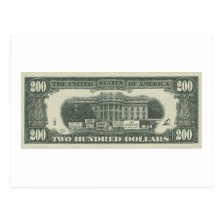 dólar americano cartao postal