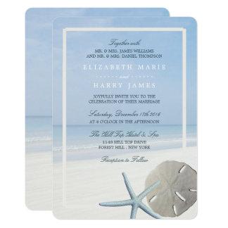 Dólar de areia e casamento de praia da estrela do convite 12.7 x 17.78cm