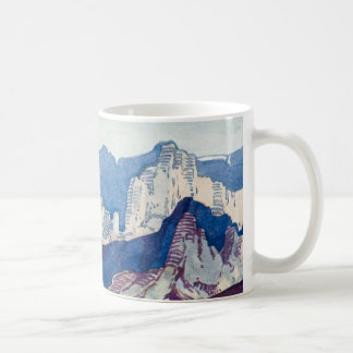 Dolomites antigas da aguarela da paisagem do caneca de café