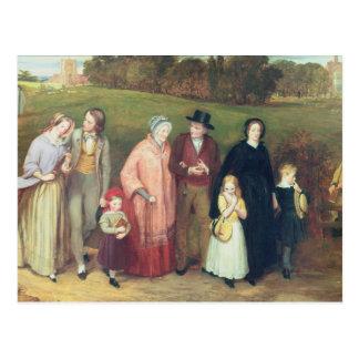 Domingo de manhã - a caminhada da igreja, 1846 cartão postal