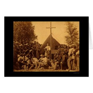 Domingo de manhã massa católica 1861 cartão comemorativo