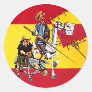 DON QUIJOTE&SANCHO - Espanhol-bandeira do moinho Adesivo