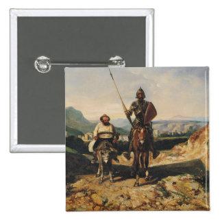 Don Quixote e Sancho Bóton Quadrado 5.08cm