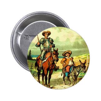 Don Quixote e Sancho Panza Bóton Redondo 5.08cm