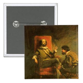 Don Quixote e Sancho Panza Bóton Quadrado 5.08cm