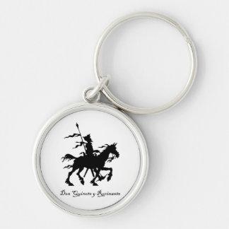 Don Quixote y Rocinante Chaveiro Redondo Na Cor Prata